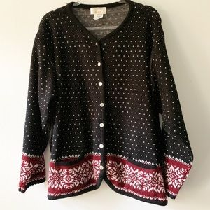 Tally Ho Black Nordic Fair Isle Sweater 2X